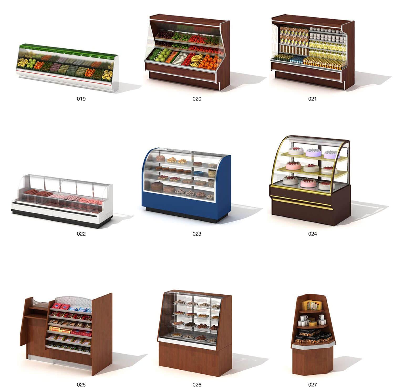 Tủ kính bán hàng hoa quả và bánh ngọt tiện dụng