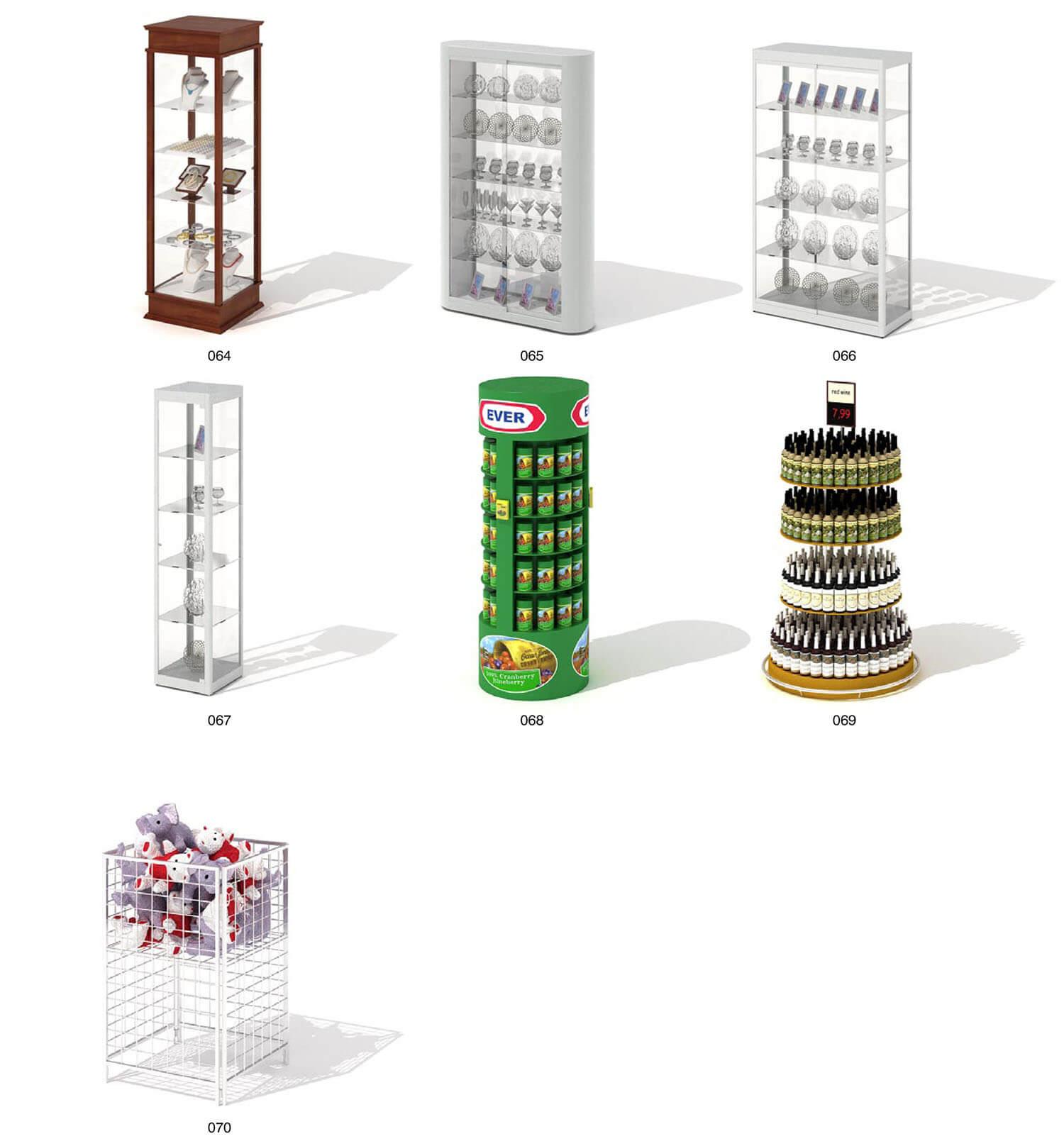 Tủ kính trang trí trưng bày dạng trụ tròn theo tầng để được nhiều đồ