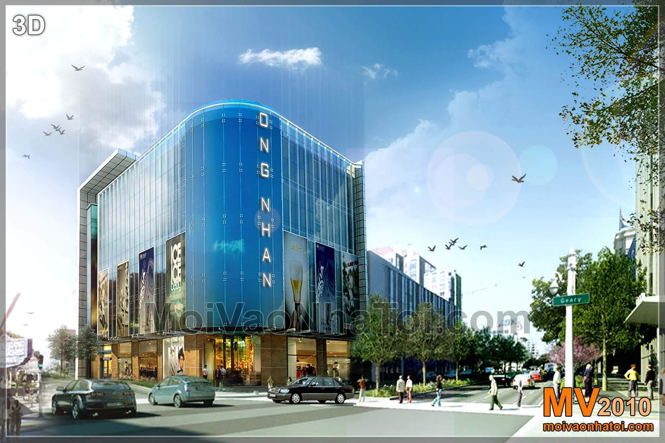 Thiết kế siêu thị Ông Nhân plaza Hà Tĩnh 400m2 x 6 tầng phong cách hiện đại