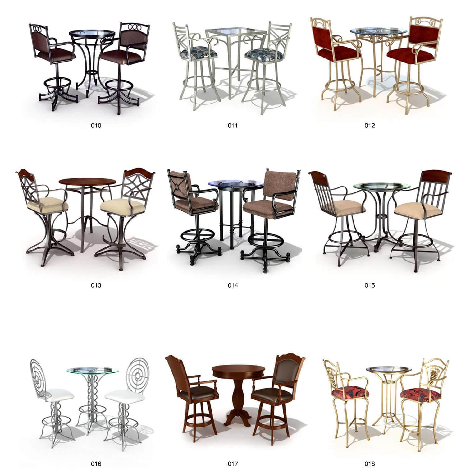 Các bộ bàn ghế cafe chất liệu sắt nghệ thuật, với chân ghế cao