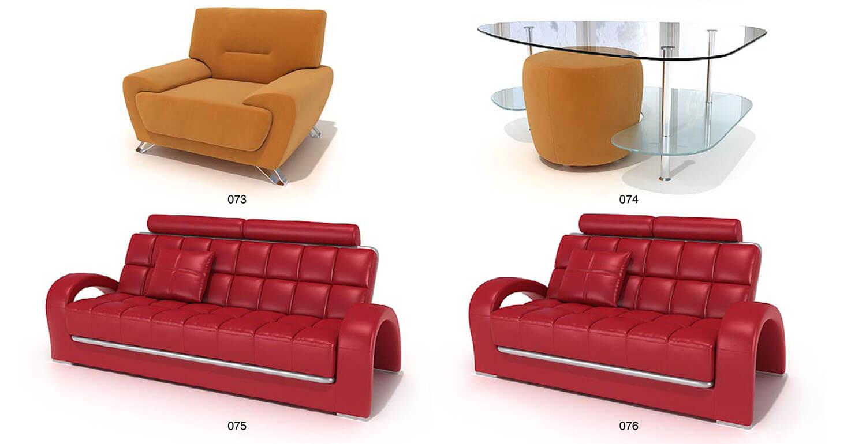 Các bộ sofa bọc da, bọc nỉ với màu sắc đa dạng từ trầm đến sặc sỡ