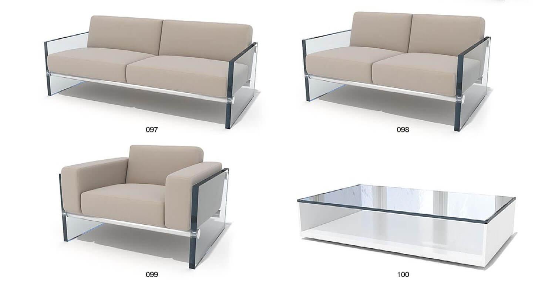 Bộ sofa bọc da với chân ghế và tay ghế bằng kính dày