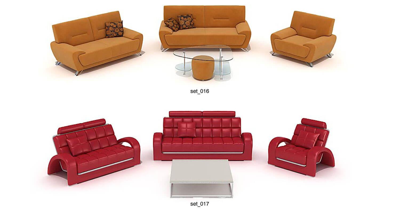 Bộ sofa nỉ màu vàng và da màu đỏ