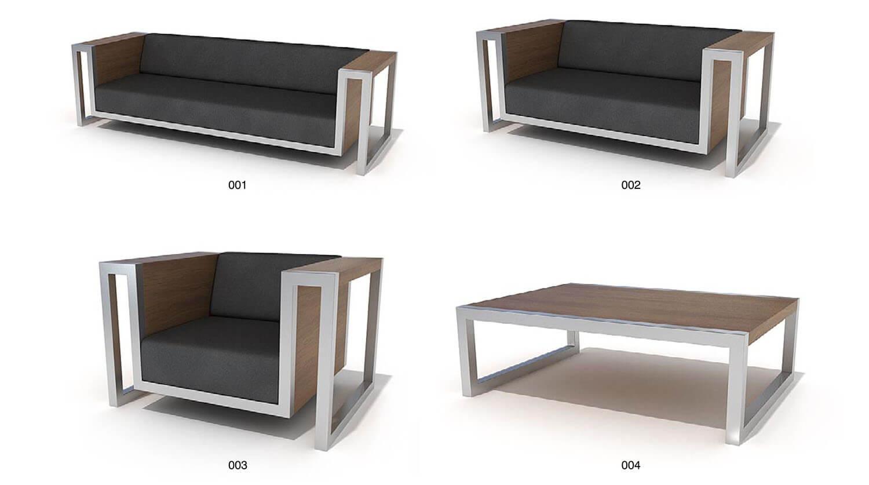 Bộ sofa và bàn trà đồng bộ, với chi tiết viền inox ấn tượng
