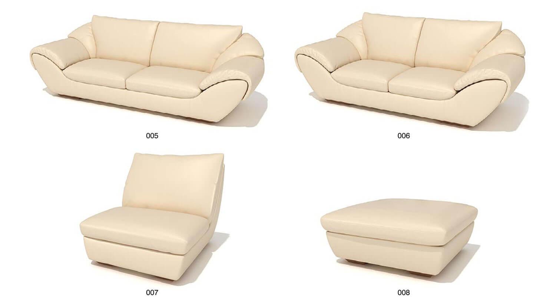 bộ sofa bọc da, với đường nét mềm mại