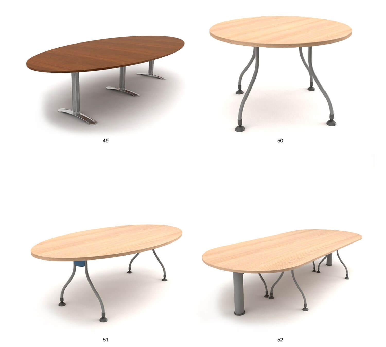 bàn làm việc theo nhóm, tập thể thường có hình tròn, hình oval