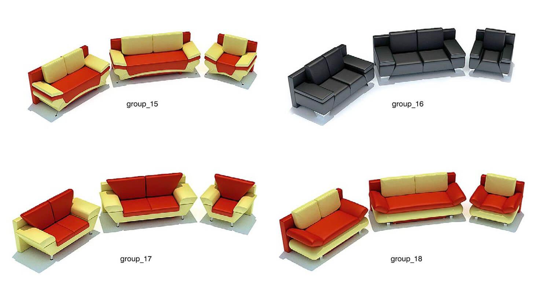 Ghế sofa với màu sắc bọc da ghép màu đỏ vàng