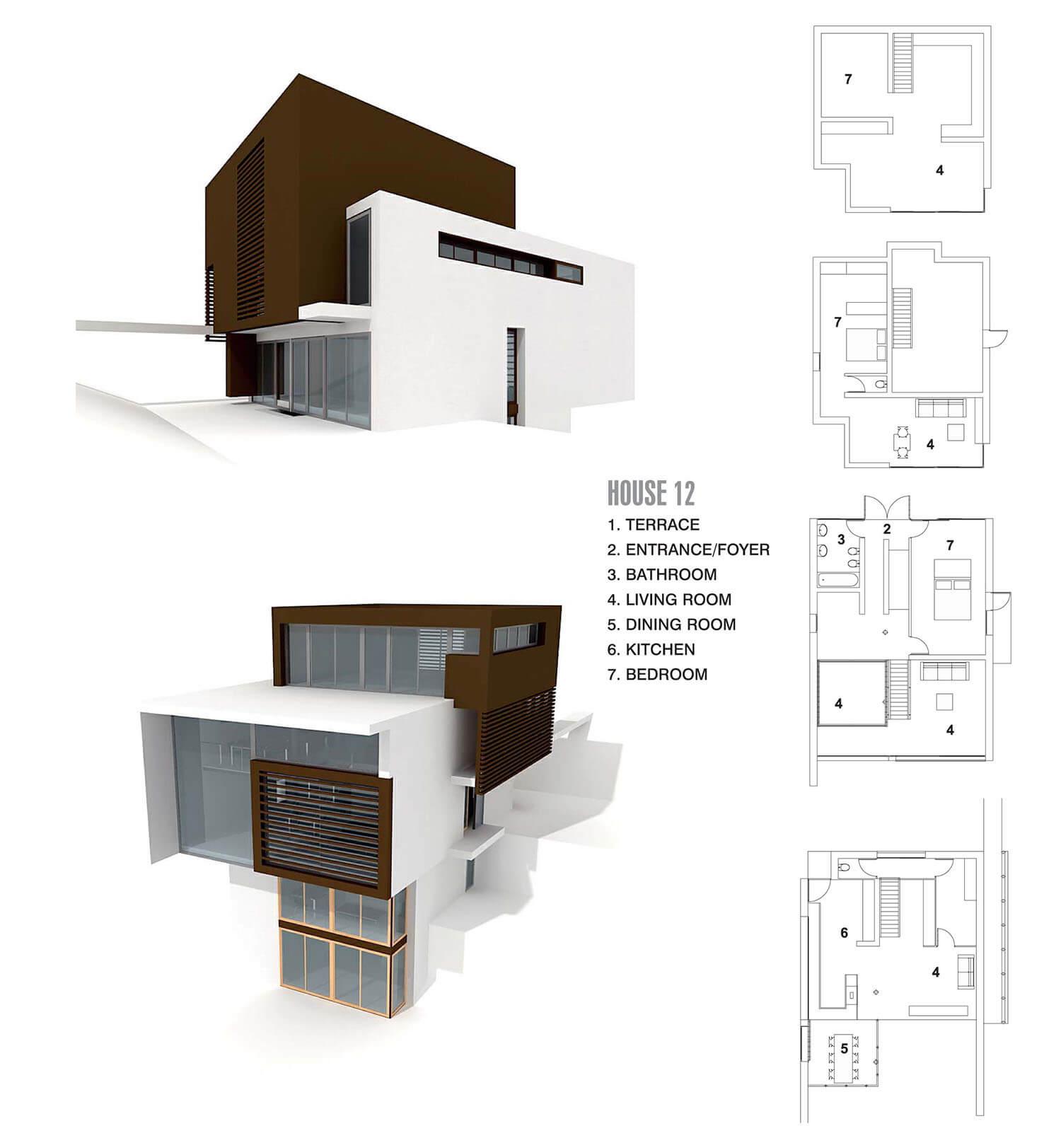 Ngôi nhà hiện đại với 2 khối hình nâu và trắng kết hợp
