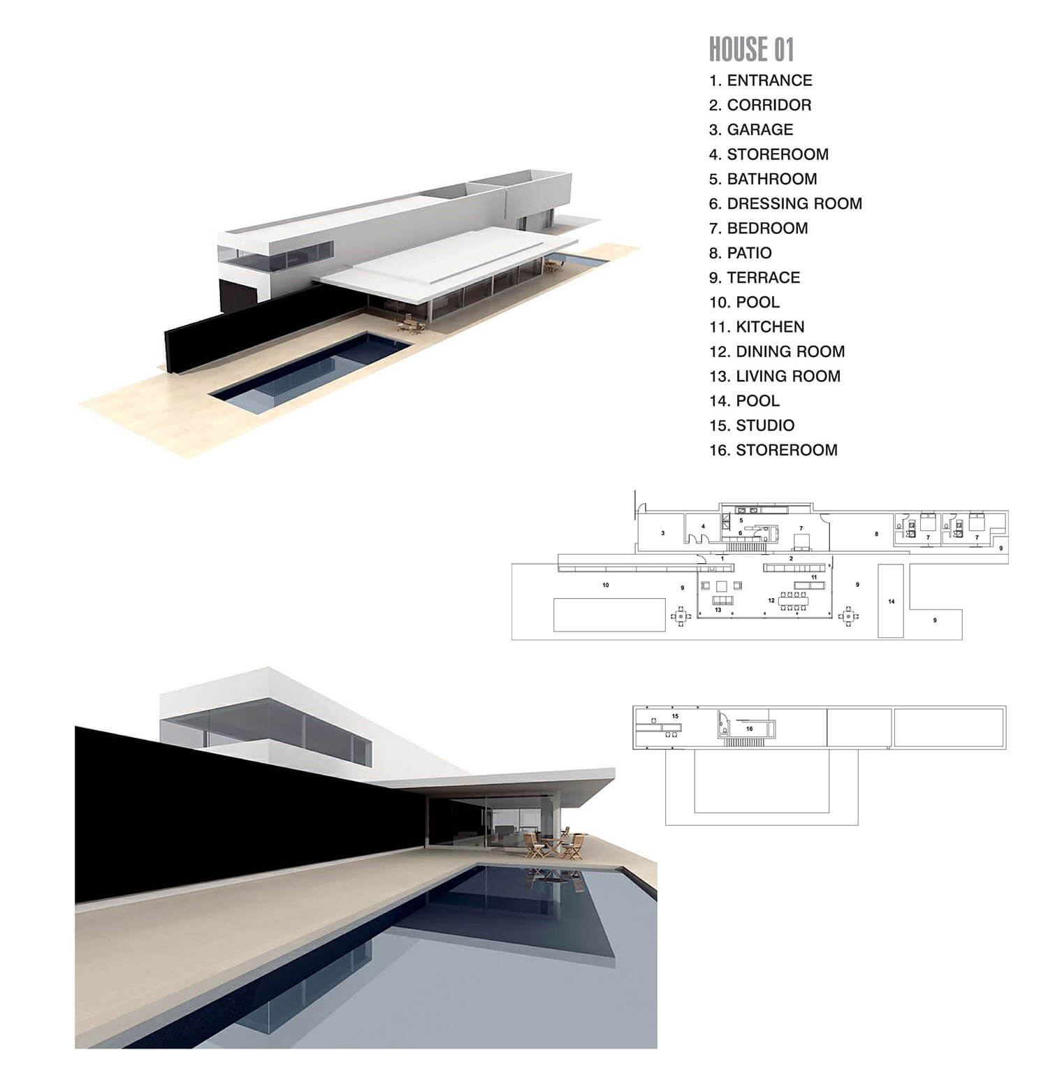 Biệt thự hình dài với bể bơi, tạo hiệu quả ấn tượng về thẩm mỹ không gian