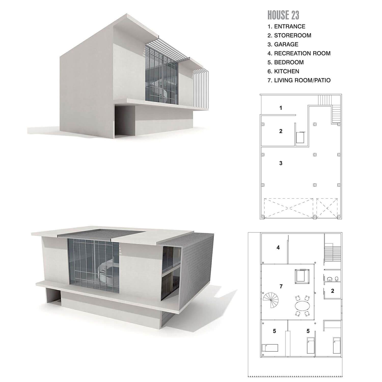 Kiến trúc ngôi nhà với hình khối vuông và màu trắng