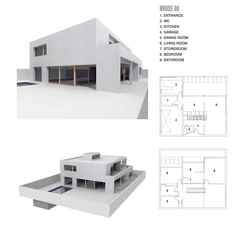 Ngôi nhà với các đường nét thẳng, màu sắc đơn giản, chỉ 1 màu trắng