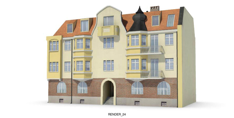 Ngôi nhà lớn với các đường nét kiến trúc sinh động và nhiều màu sắc