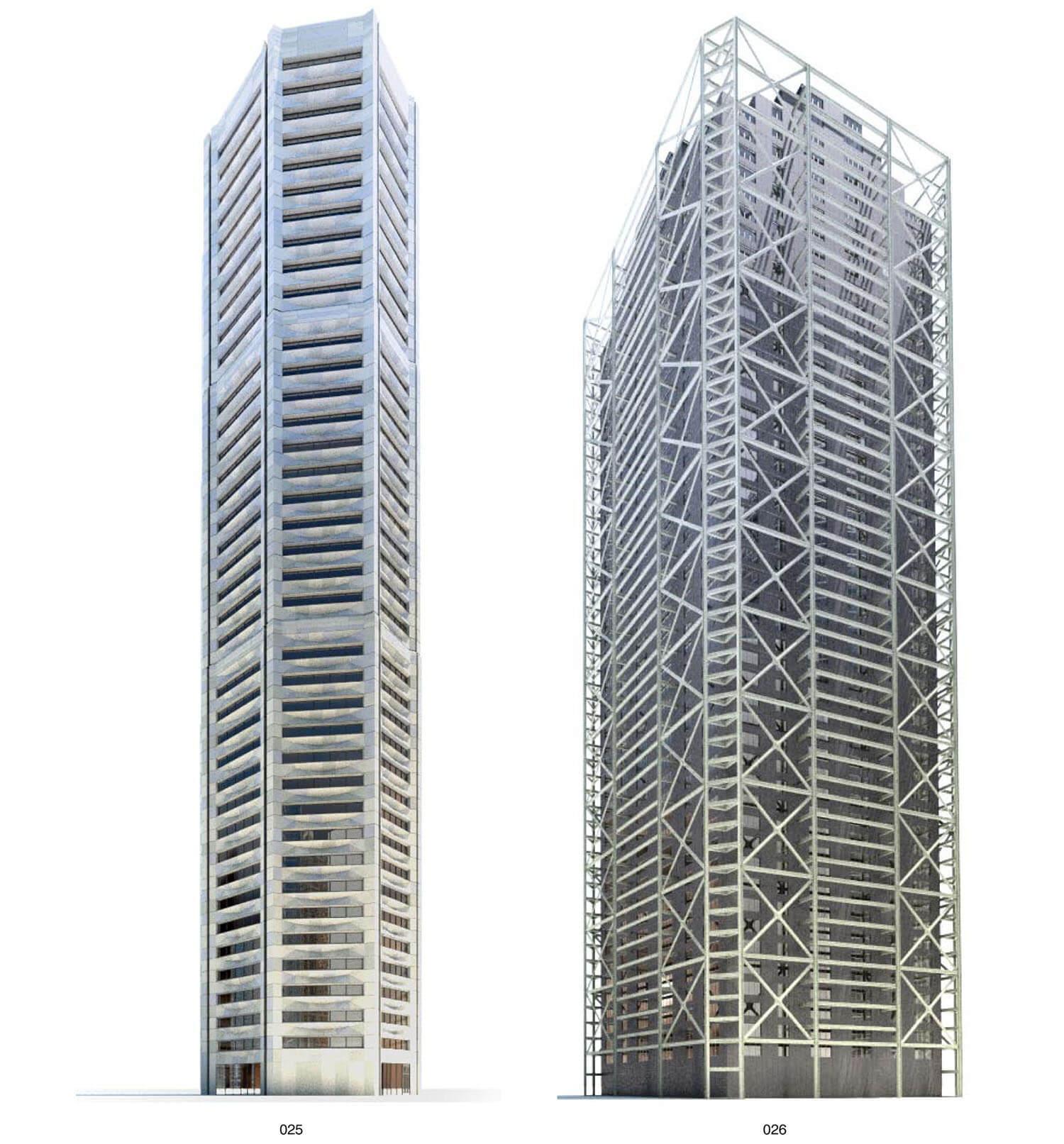 Hình dạng khung phô kết cấu của 2 building cao tầng
