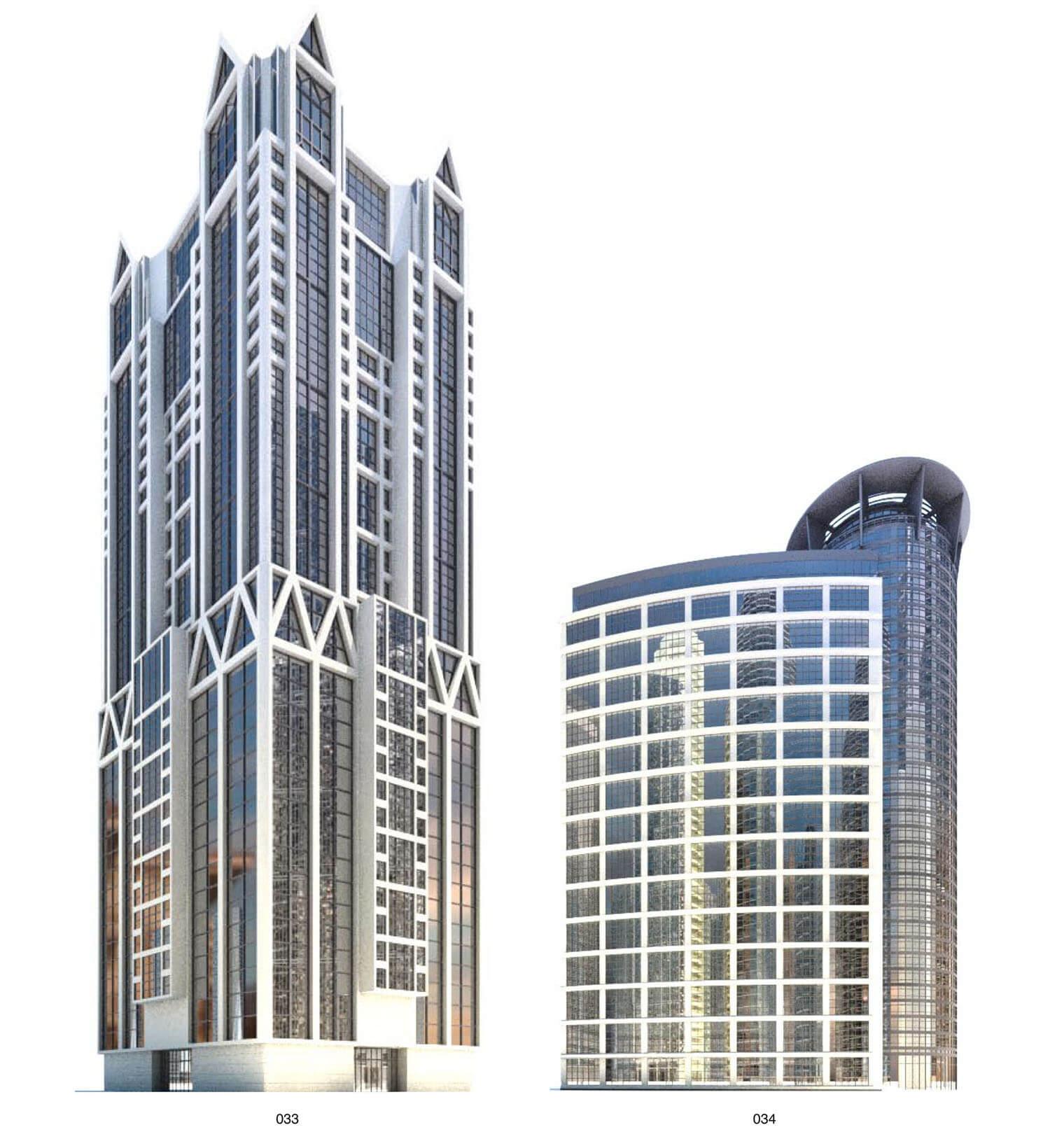 Nhà cao tầng với các đường khung nhọn, và mái nhọn