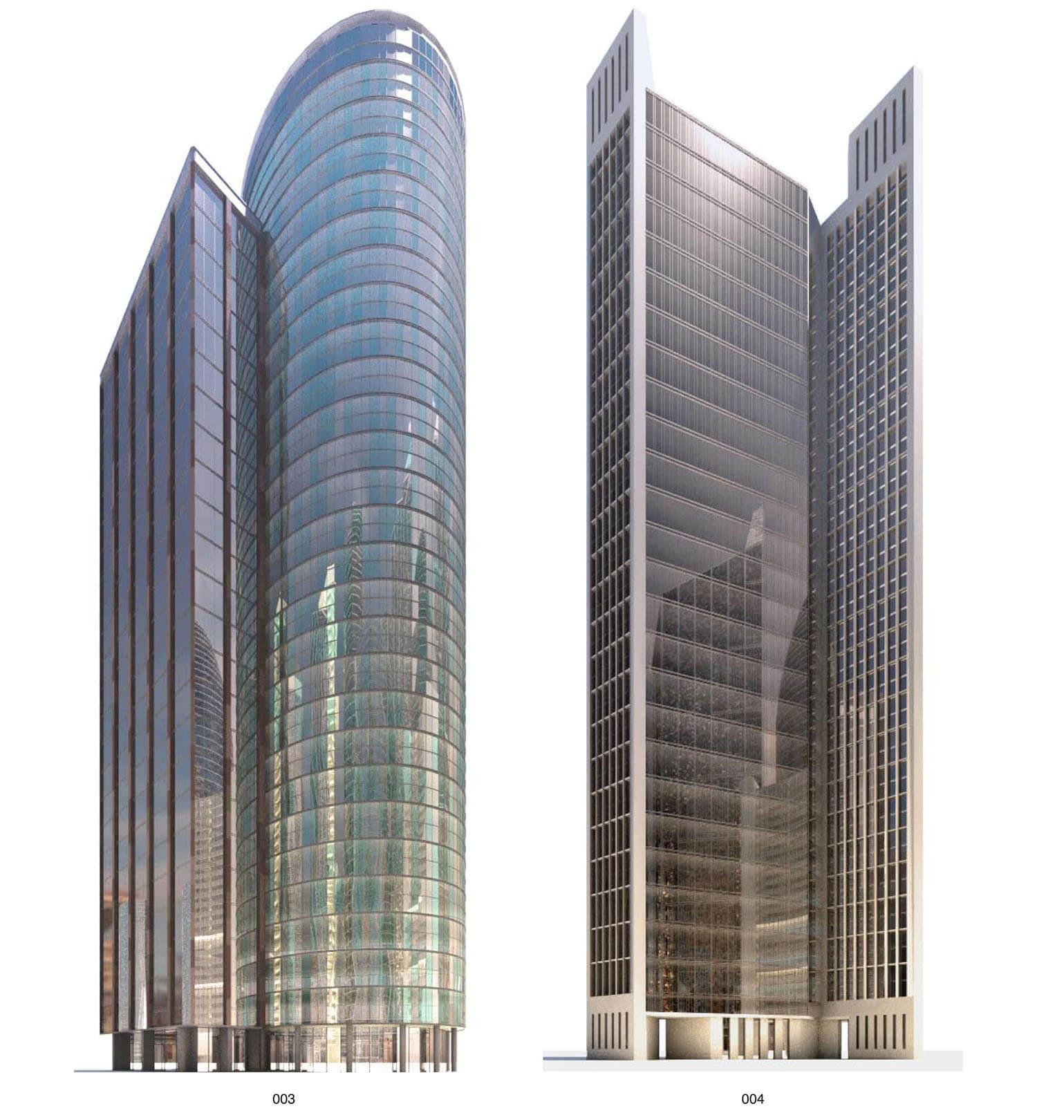 Các mẫu building được thiết kế mặt ngoài với thép và kính