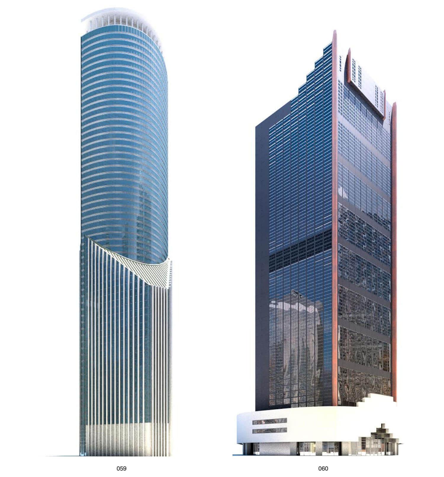 Hai tòa building cao tầng bằng vật liệu kính sáng bóng và hiện đại