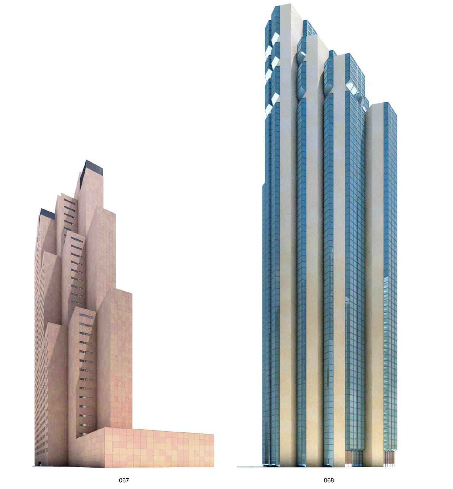 Hai tòa nhà building cao tầng với đường nét là các khối hộp như lao lên bầu trời