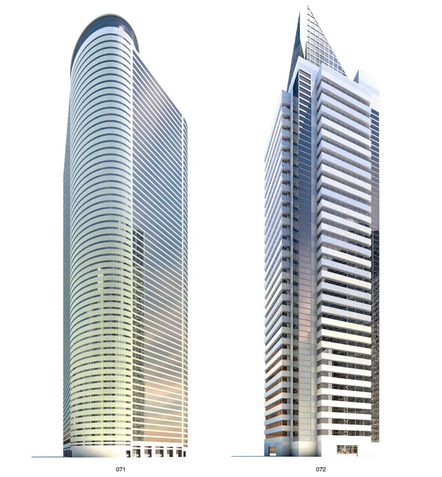 Hai tòa nhà kiểu hiện đại với tường sơn trắng với các mảng kính