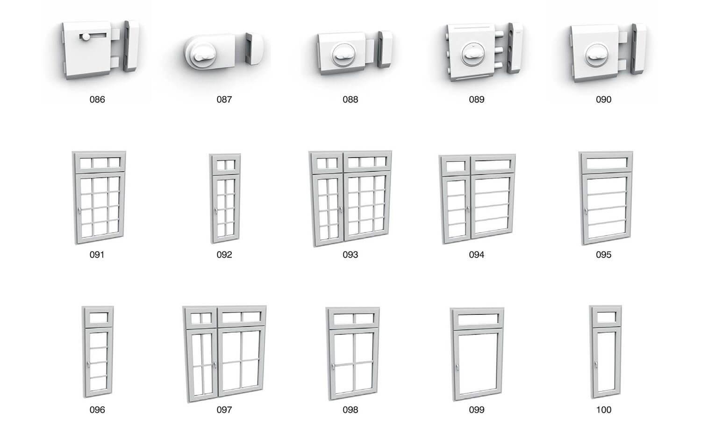 Cửa sổ gỗ nhựa và chốt cửa