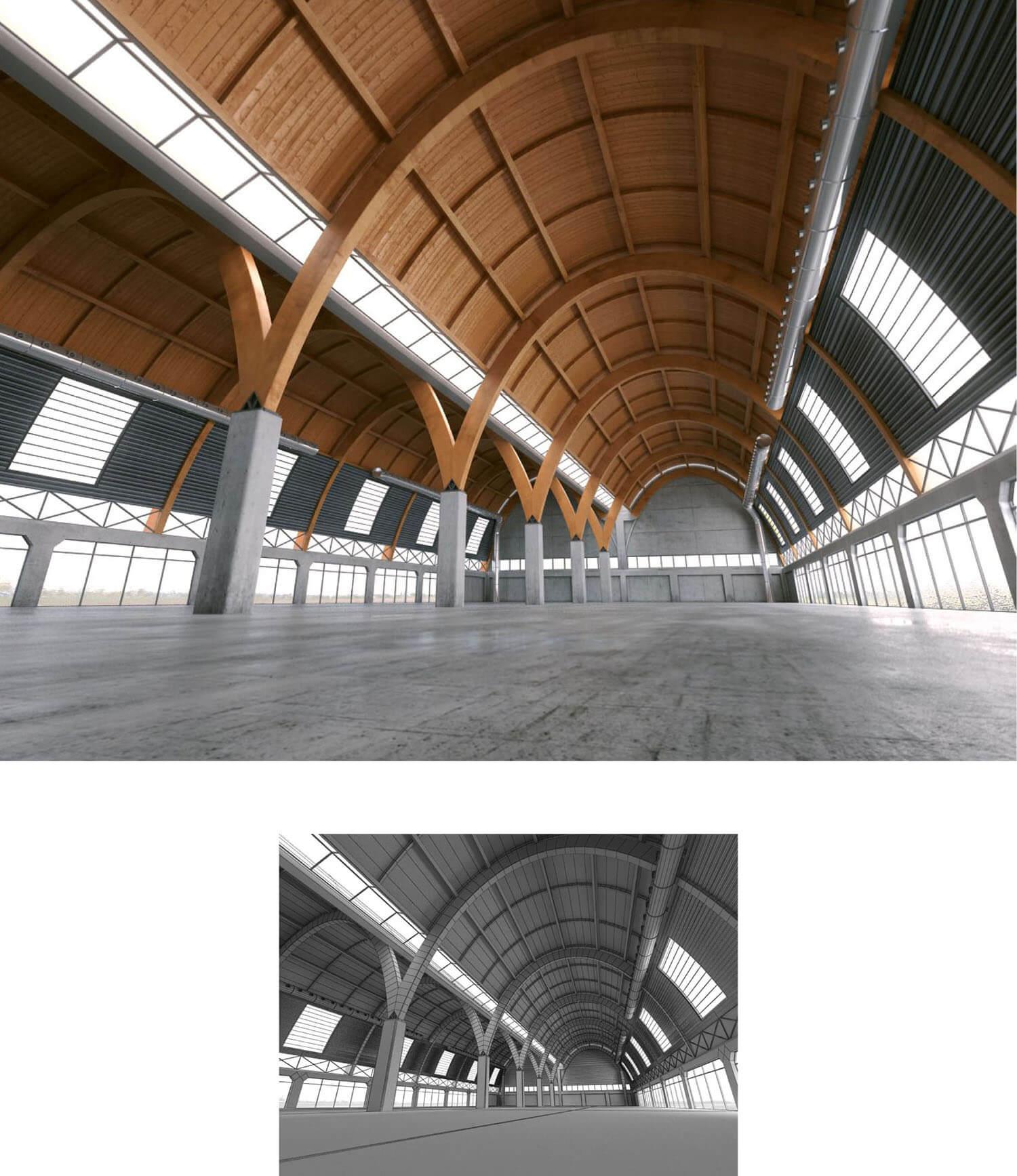 Không gian đại sảnh với trần gỗ uốn cong rất đẹp