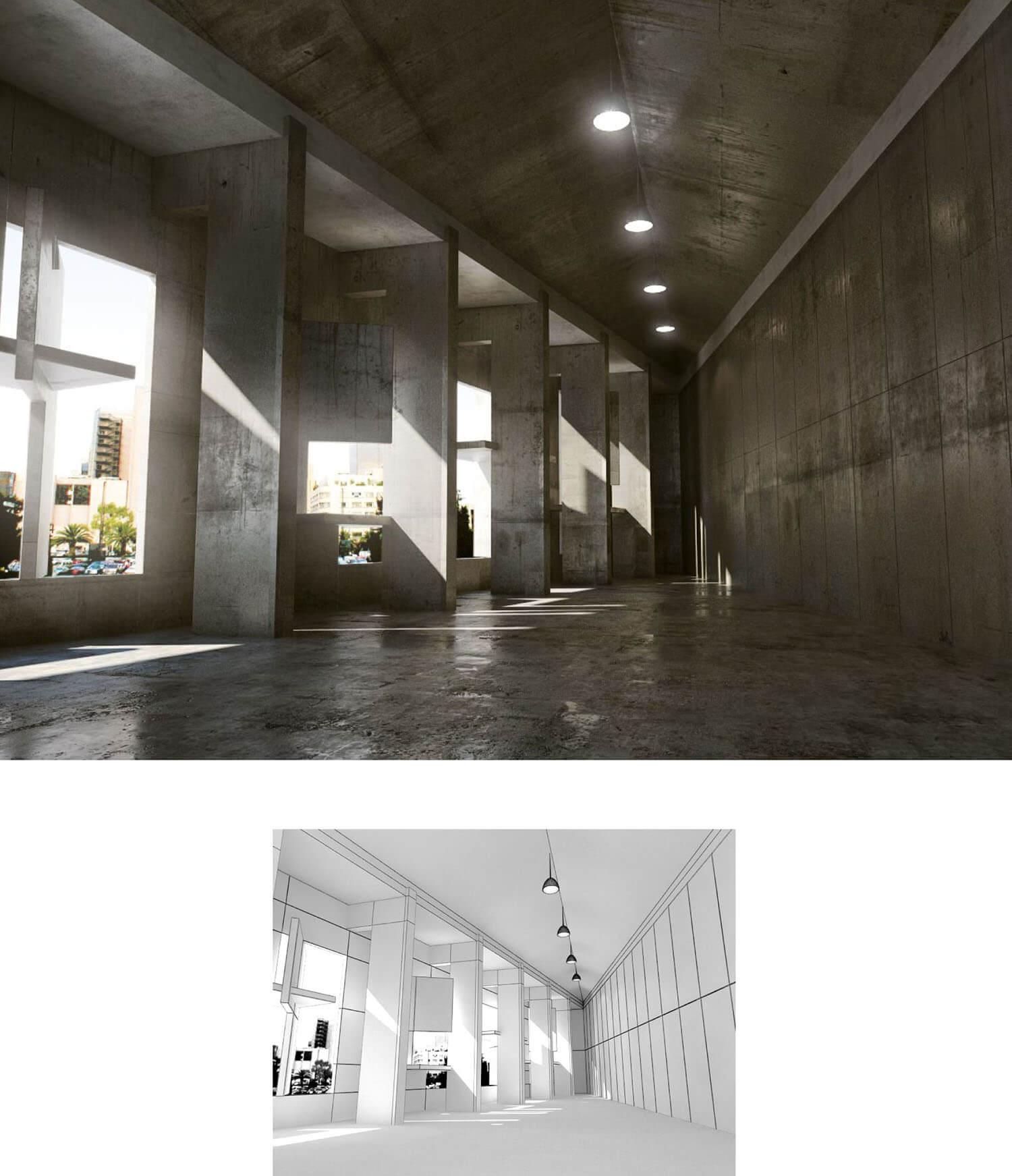 Không gian sảnh đẹp bằng bê tông không trát như các nhà công xưởng