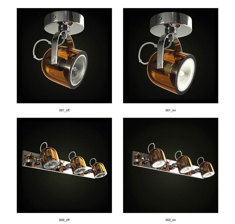 Các đèn rọi đơn, rọi ba ốp tường, áp dụng cho các mảng treo tranh