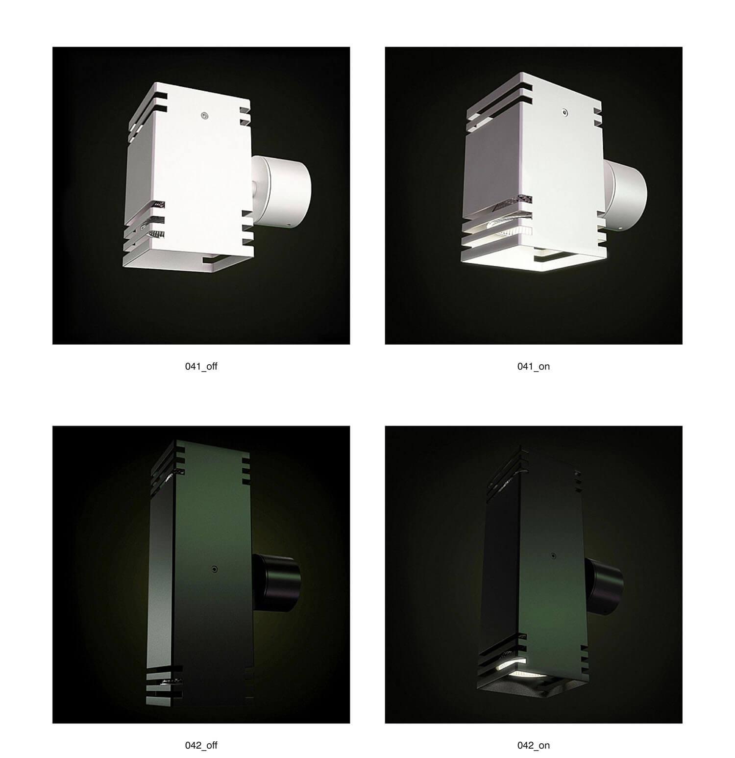 Đèn ốp tường kiểu vuông, bằng kim loại