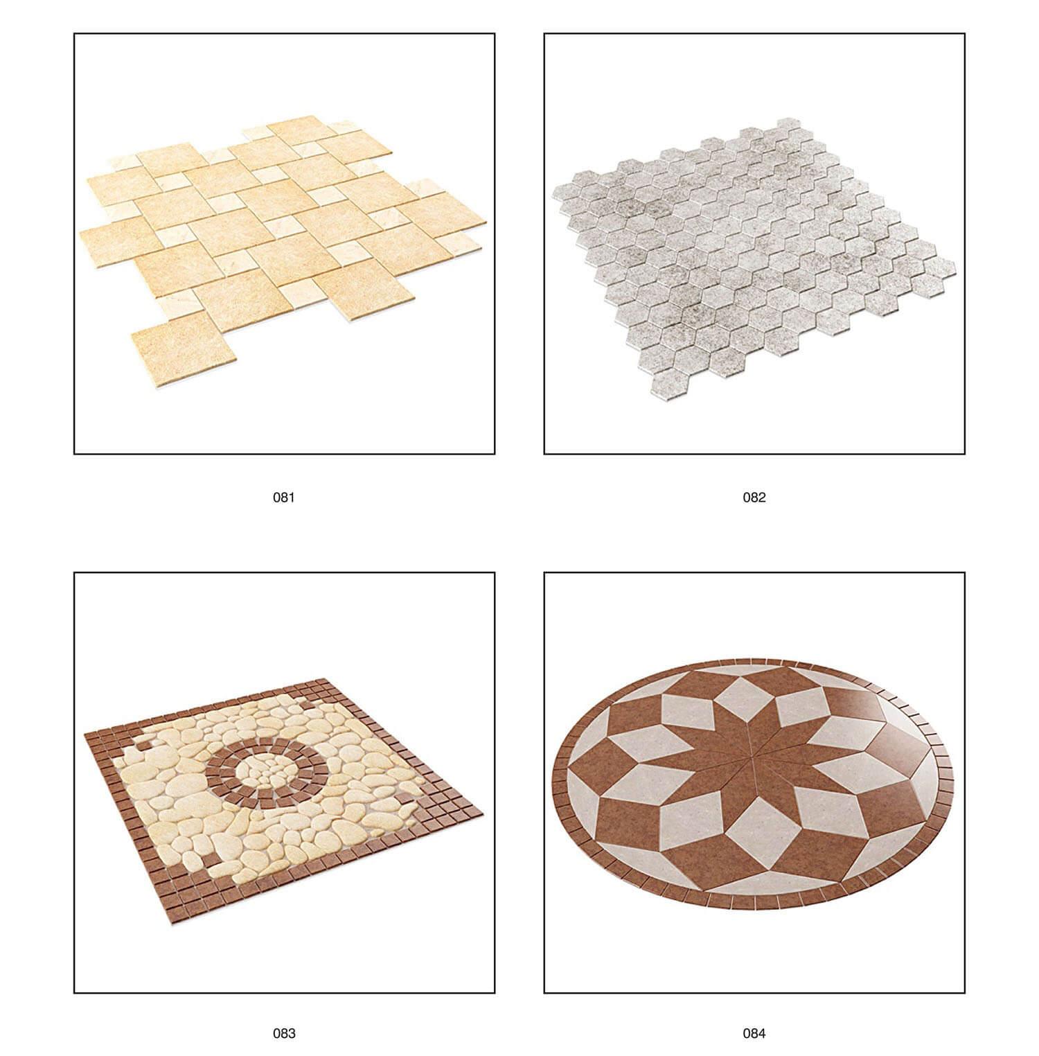 Từ cách lát đồng đều, đến các ô trang trí tập trung hình vuông, hình tròn tạo điểm nhấn