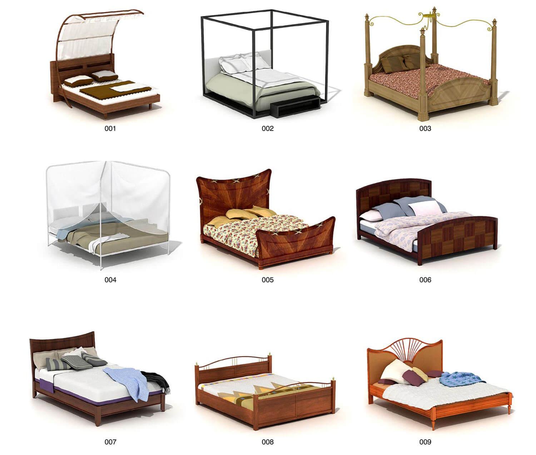 Giường gỗ có khung màn