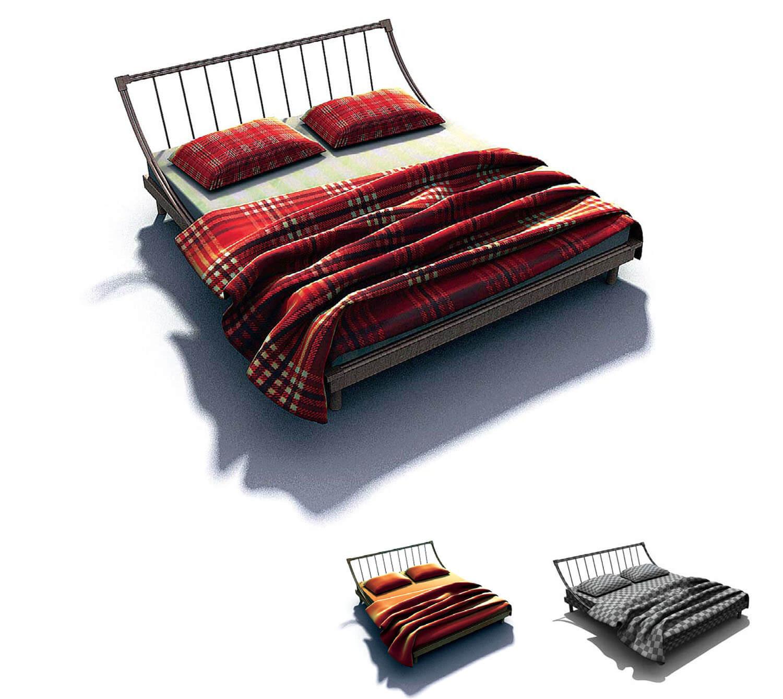 Mẫu giường khung sắt với đường nét đơn giản, nhẹ nhàng