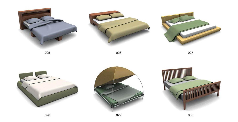 Mẫu giường với khung màn hình cầu, mô phỏng lều trại