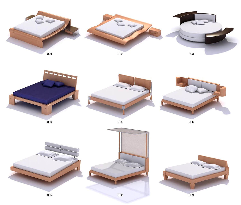 Giường gỗ công nghiệp hình tròn, hình uốn sóng