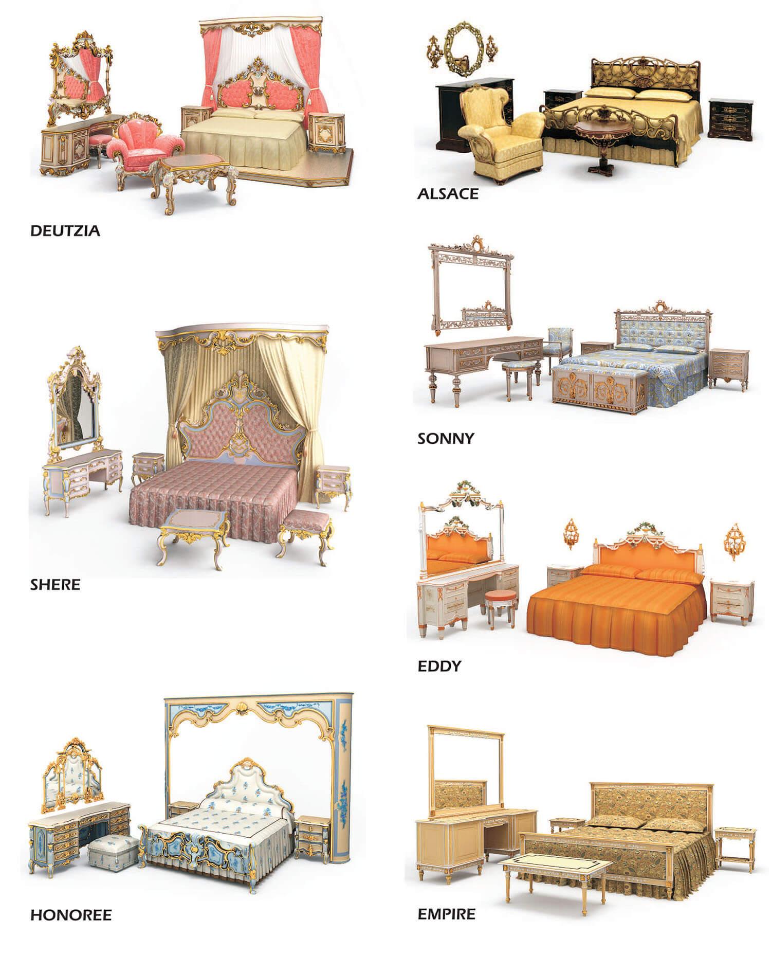 Các mẫu giường và bàn phấn đồng bộ