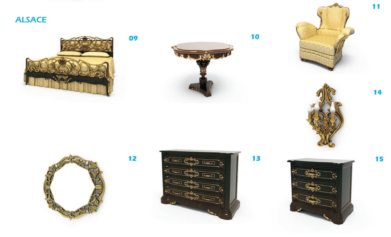 Bộ giường, bàn ghế và tủ kéo mang đậm chất cổ điển