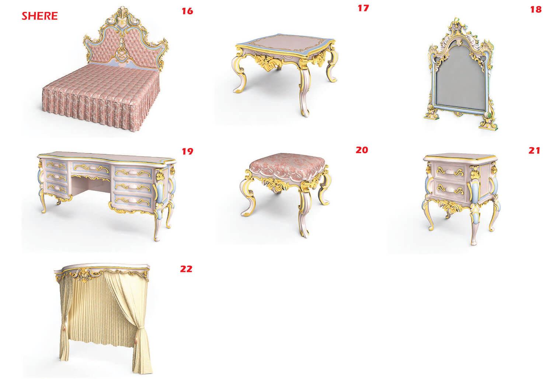 Mẫu giường, bàn ghế và tủ trang trí với gam màu hồng trẻ trung