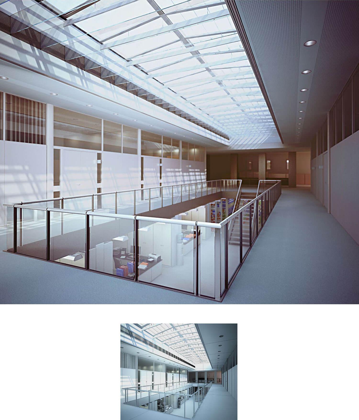 Không gian cầu thang và hành lang trung tâm thương mại với tay vịn trần kính đem lại hiệu ứng ánh sáng tốt