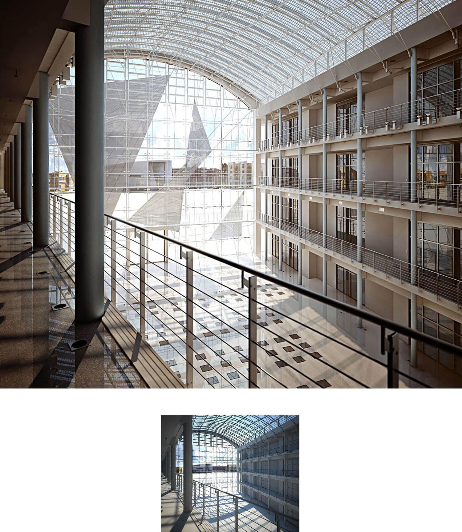 Không gian hành lang đẹp được thiết kế bằng trần vòm kính