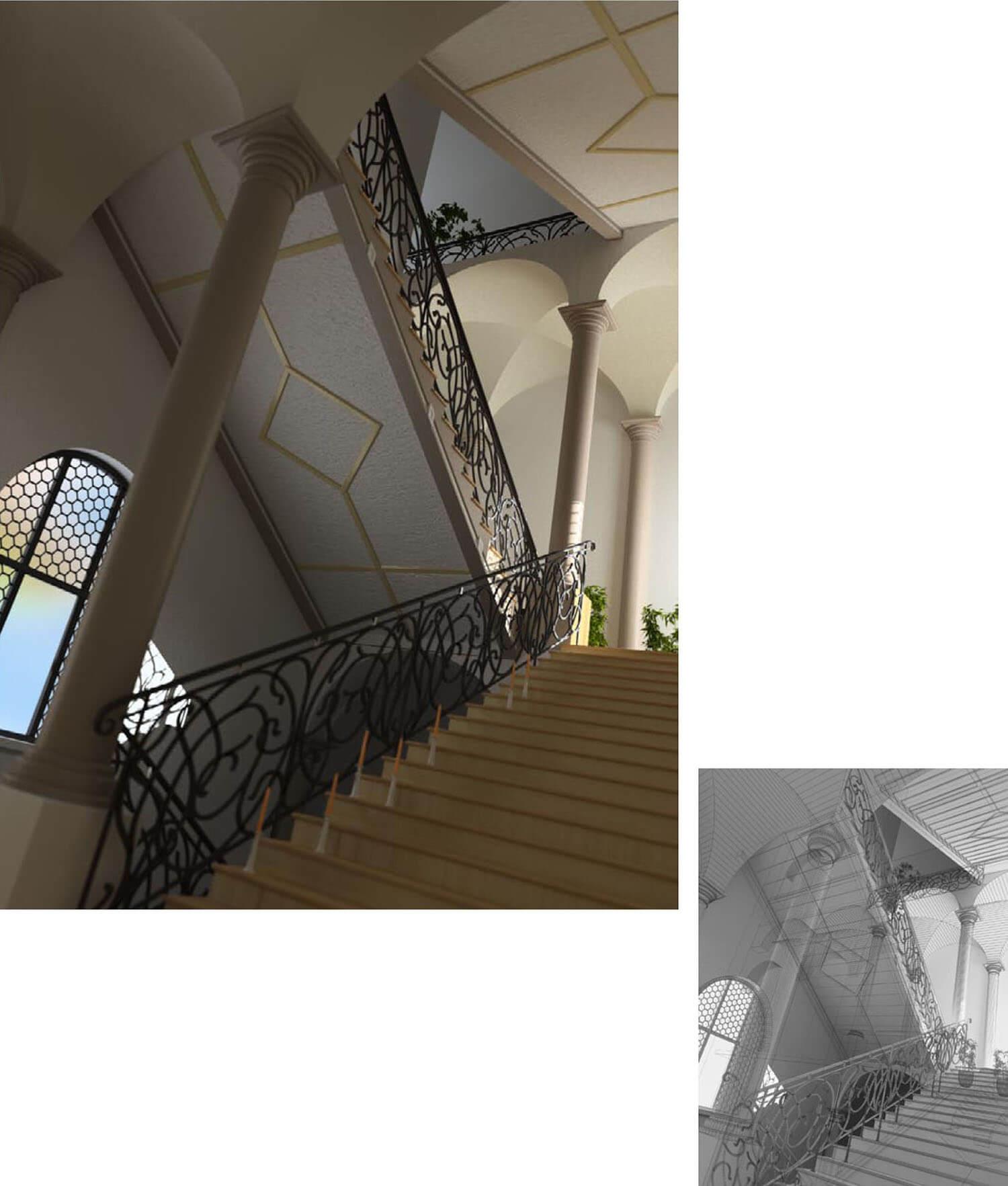 Không gian cầu thang cổ điển với tay vịn hoa sắt