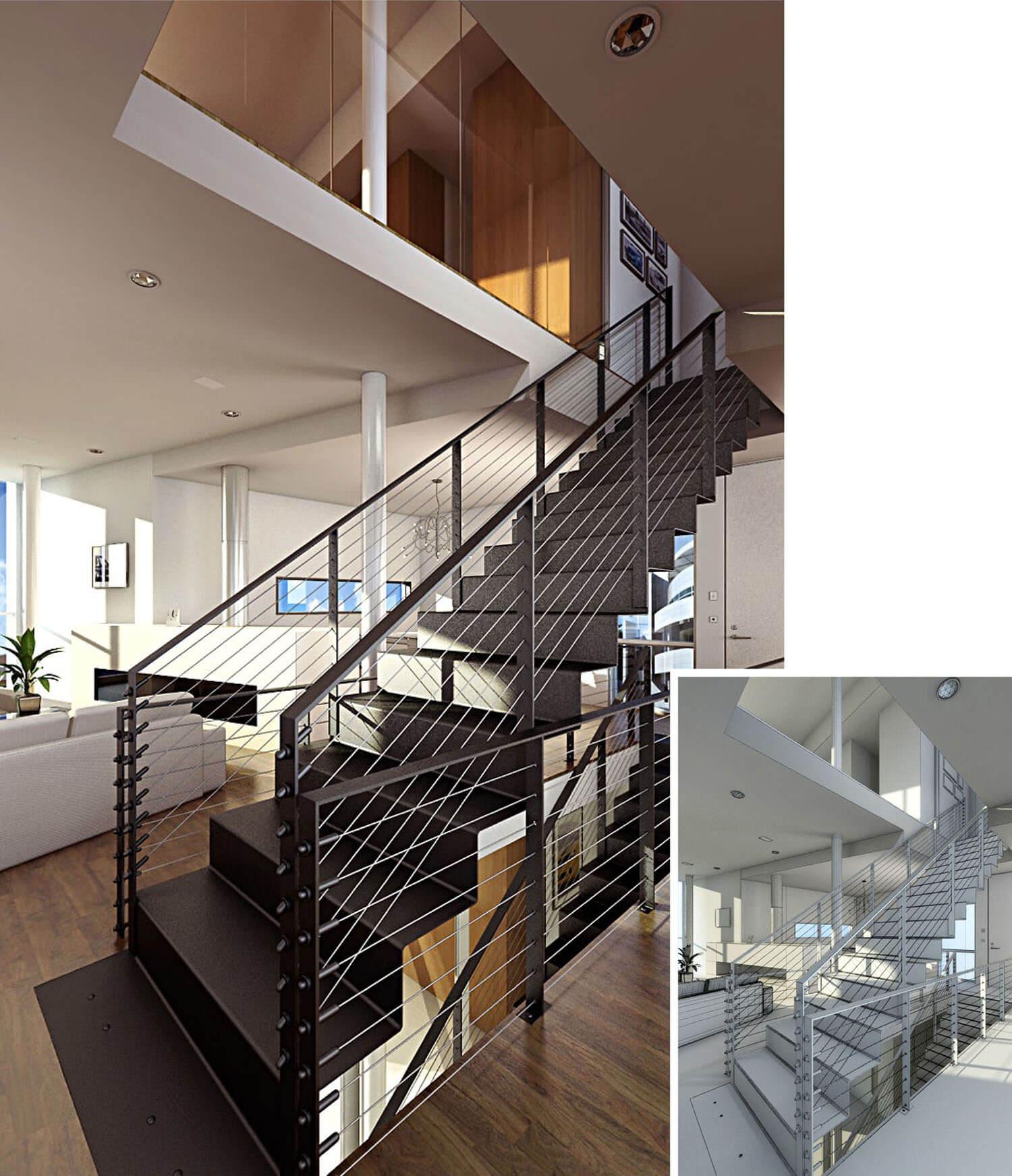 Mẫu không gian cầu thang tay vịn bằng sắt vuông vắn