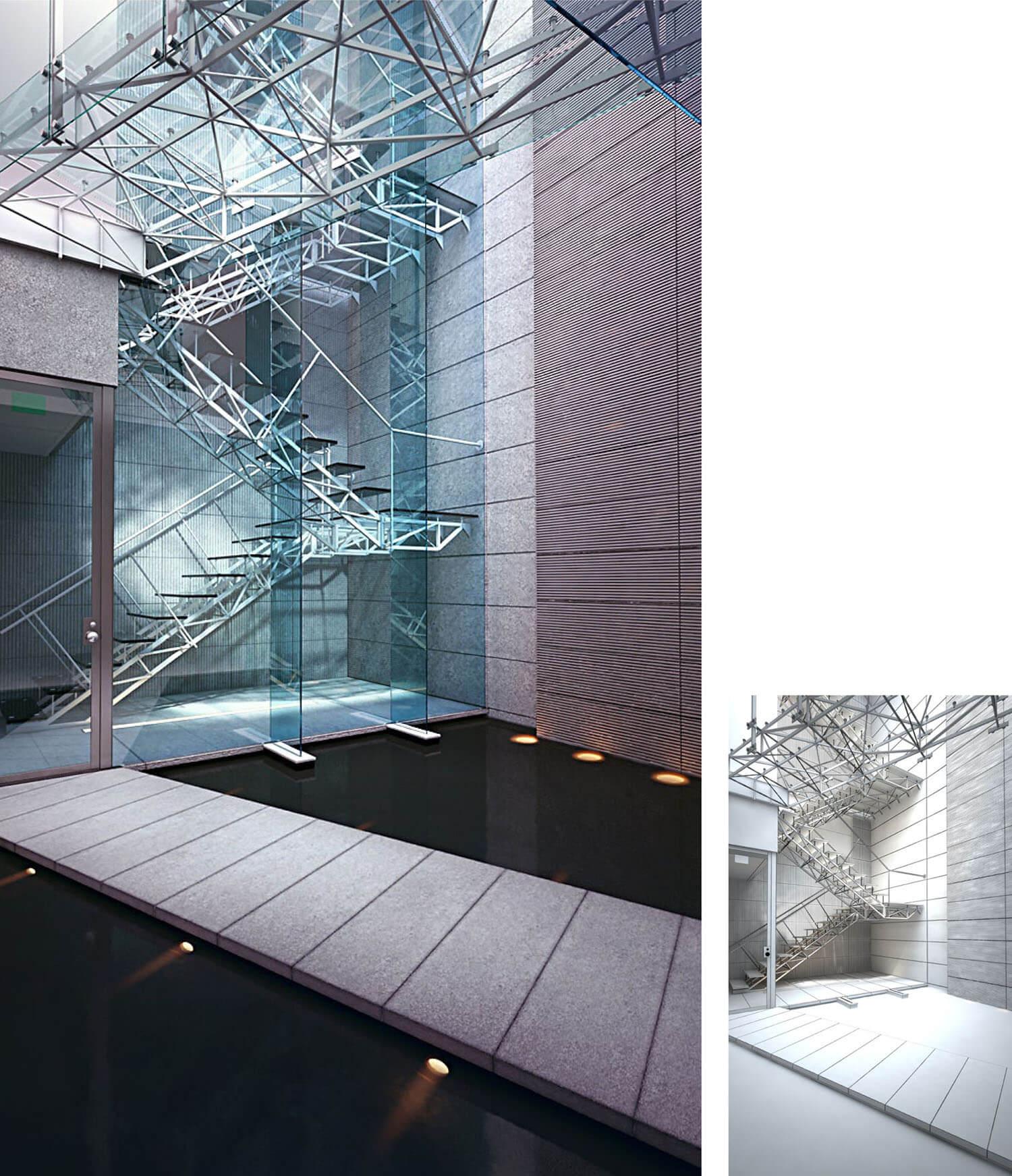 Không gian cầu thang nhìn như trong phim vũ trụ nhờ kính tạo và sắt