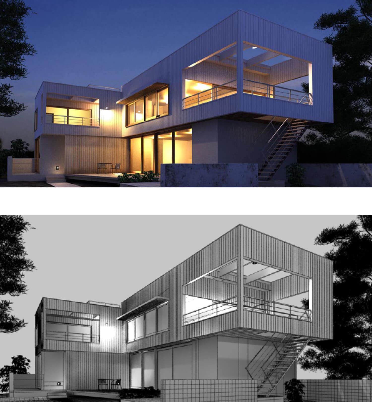 Không gian Villa đẹp được thiết kế hình hộp
