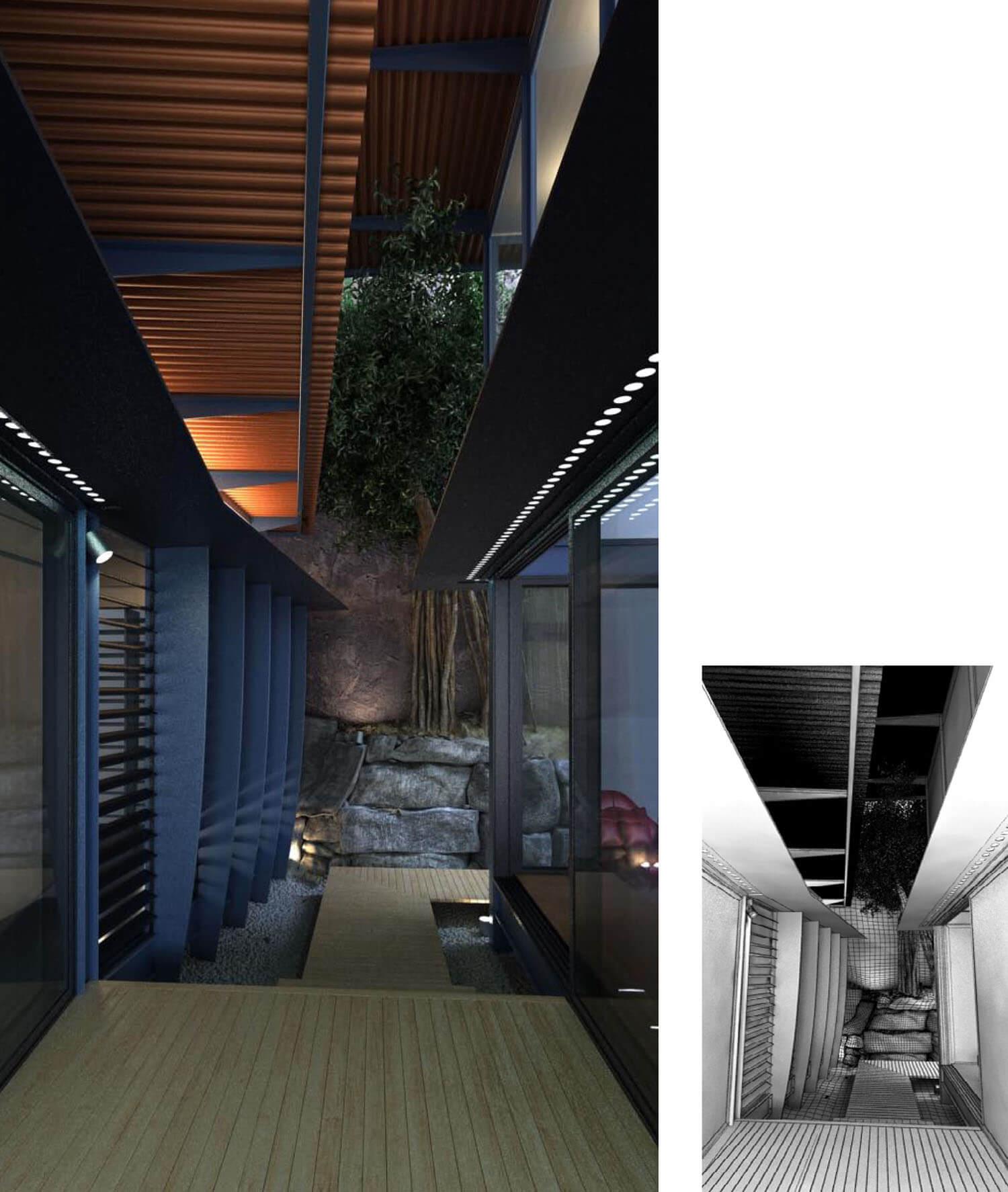 Không gian Villa đẹp được thiết kế hình hộp mở ra các hướng