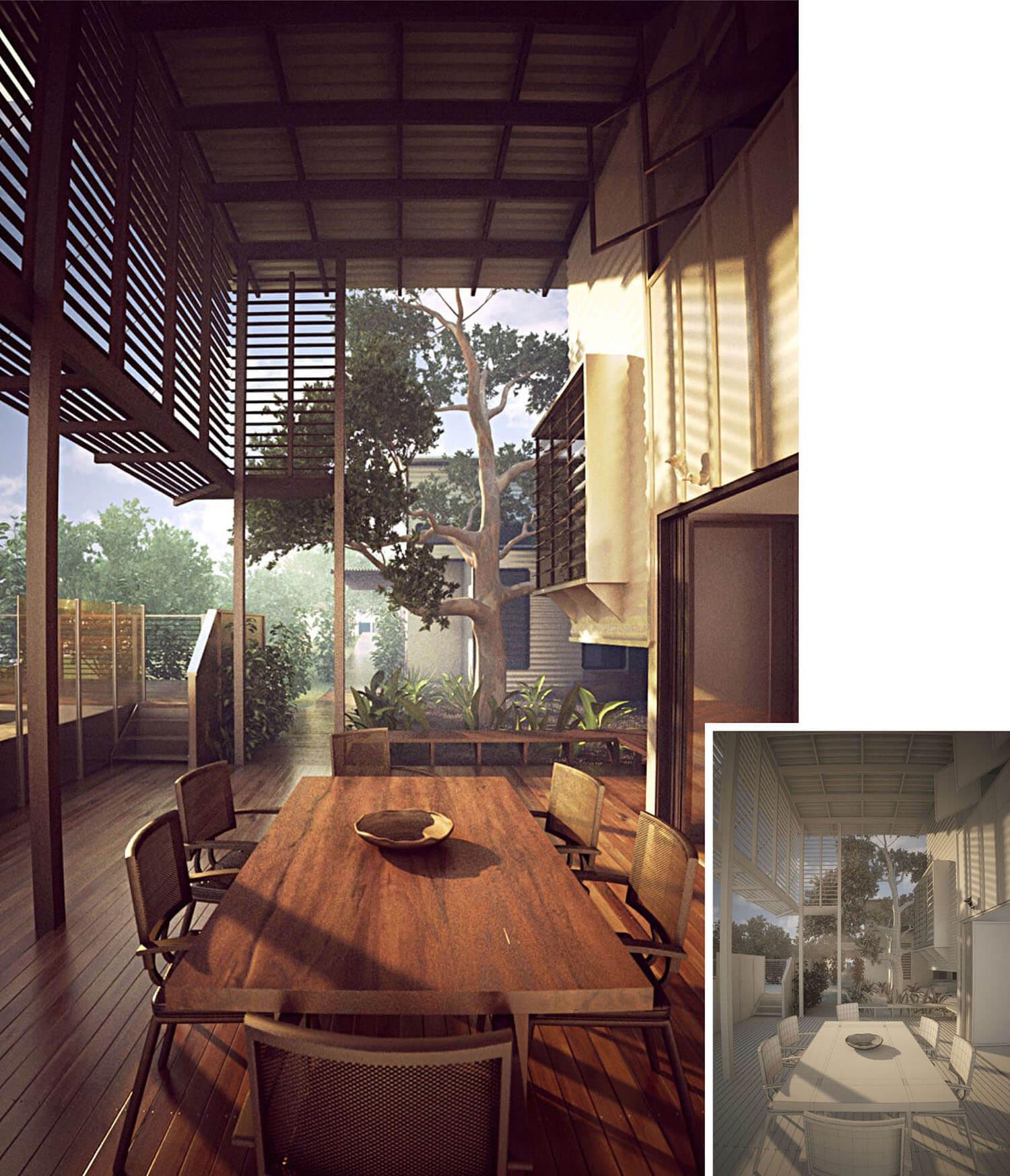 Thiết kế không gian nội thất sảnh với gỗ có tầm nhìn ra thiên nhiên