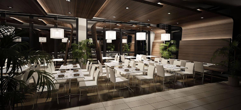 Thiết kế nhà hàng sử dụng trần và tường gỗ độc đáo