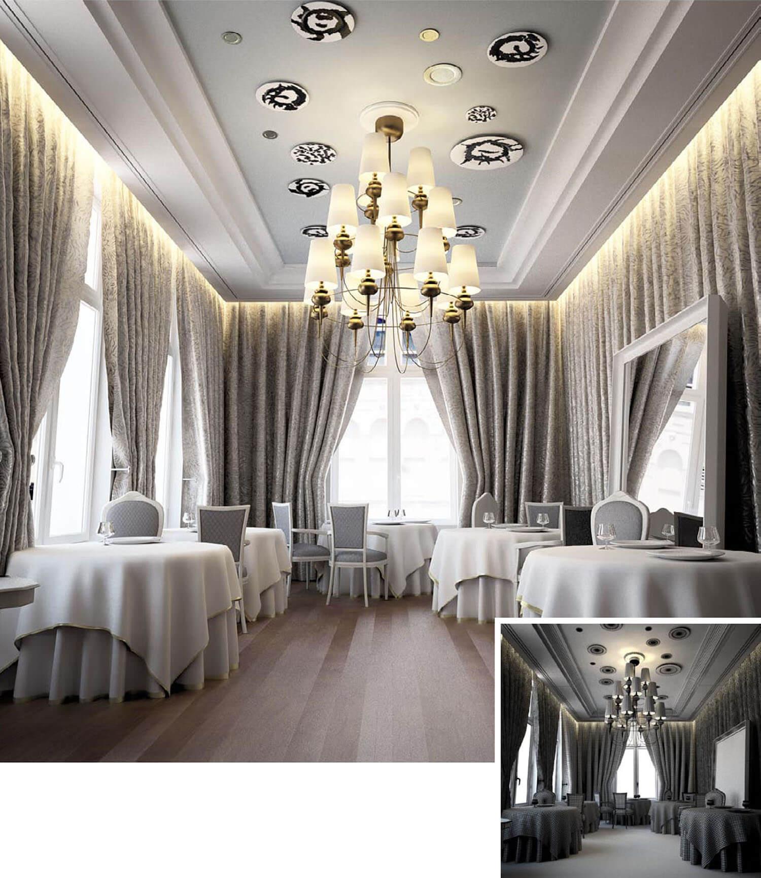 Nhà hàng với nội thất được thiết kế với trần thạch cao trang trí cùng rèm rủ