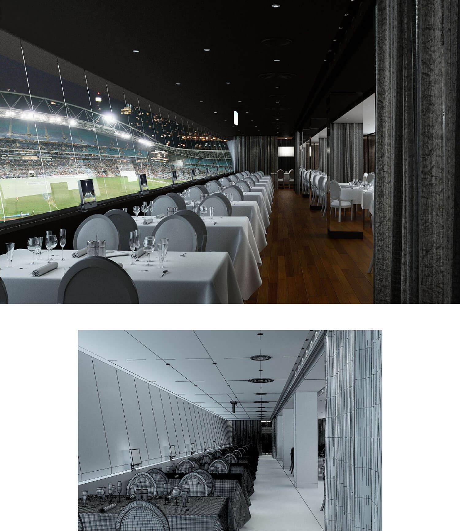 Không gian nội thất nhà hàng nhìn ra sân bóng đá