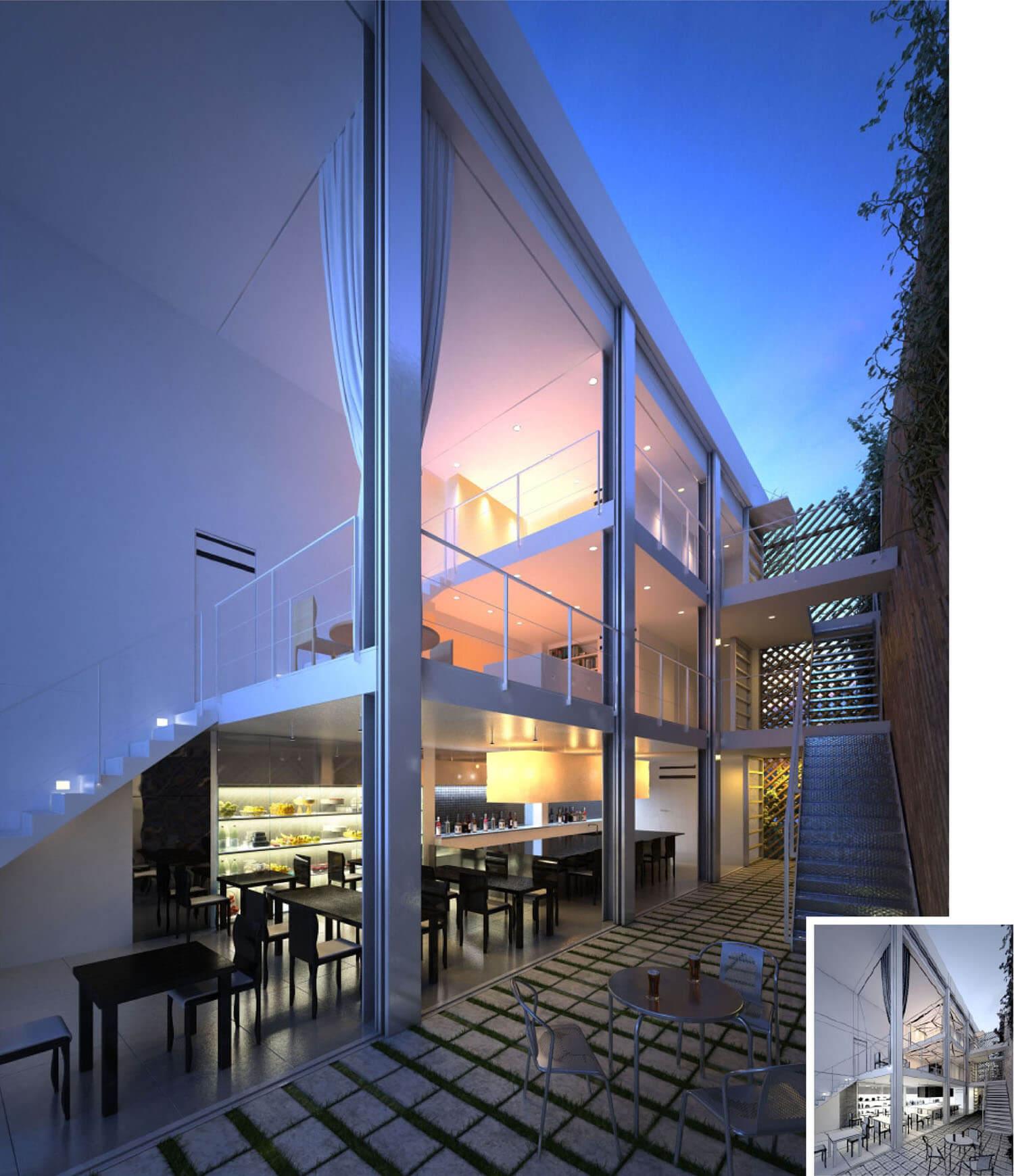 Thiết kế cafe nhà hàng dạng bậc thang cùng lan can kính ấn tượng