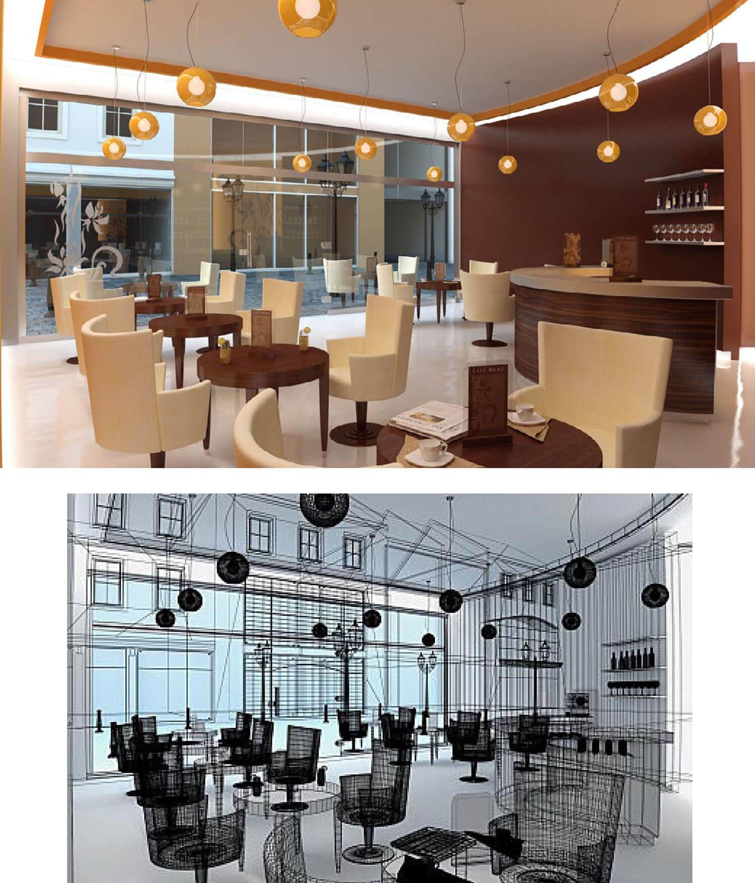 Nội thất quán cafe có ánh sáng lung linh từ đèn trang trí