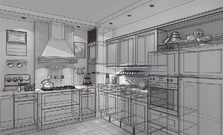 Bản vẽ phối cảnh 3D Không gian phòng bếp ăn