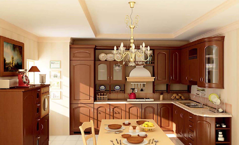 Tủ bếp gỗ cổ điển kết hợp hài hòa cùng đèn chùm kiểu cách
